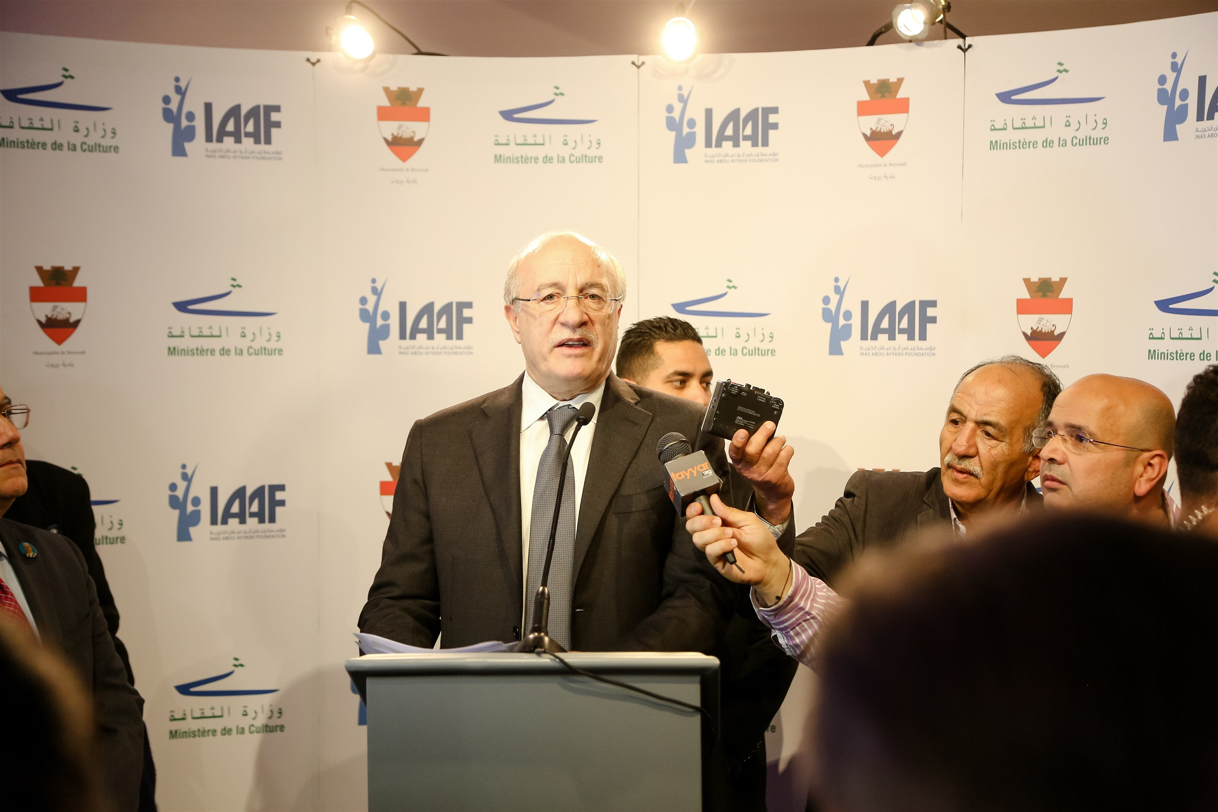he dr. ghattas khoury speaking to the press