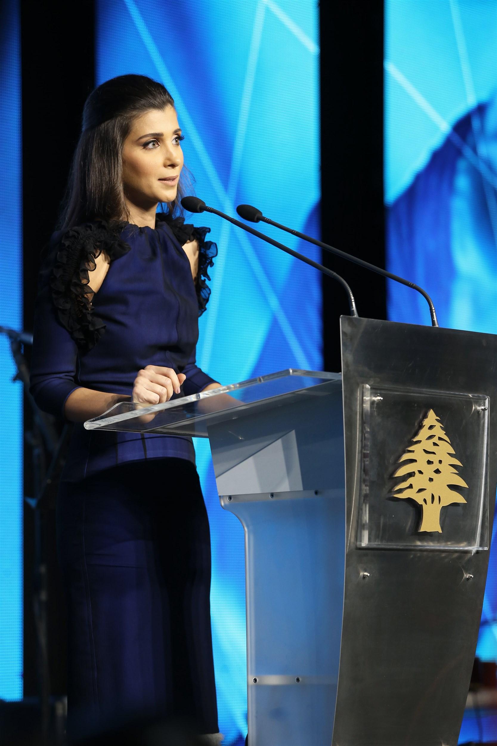 iaaf president mrs. inas al jarmakani for the first time presenting h.e prime minister saad al hariri in lne (lebanese national energy)