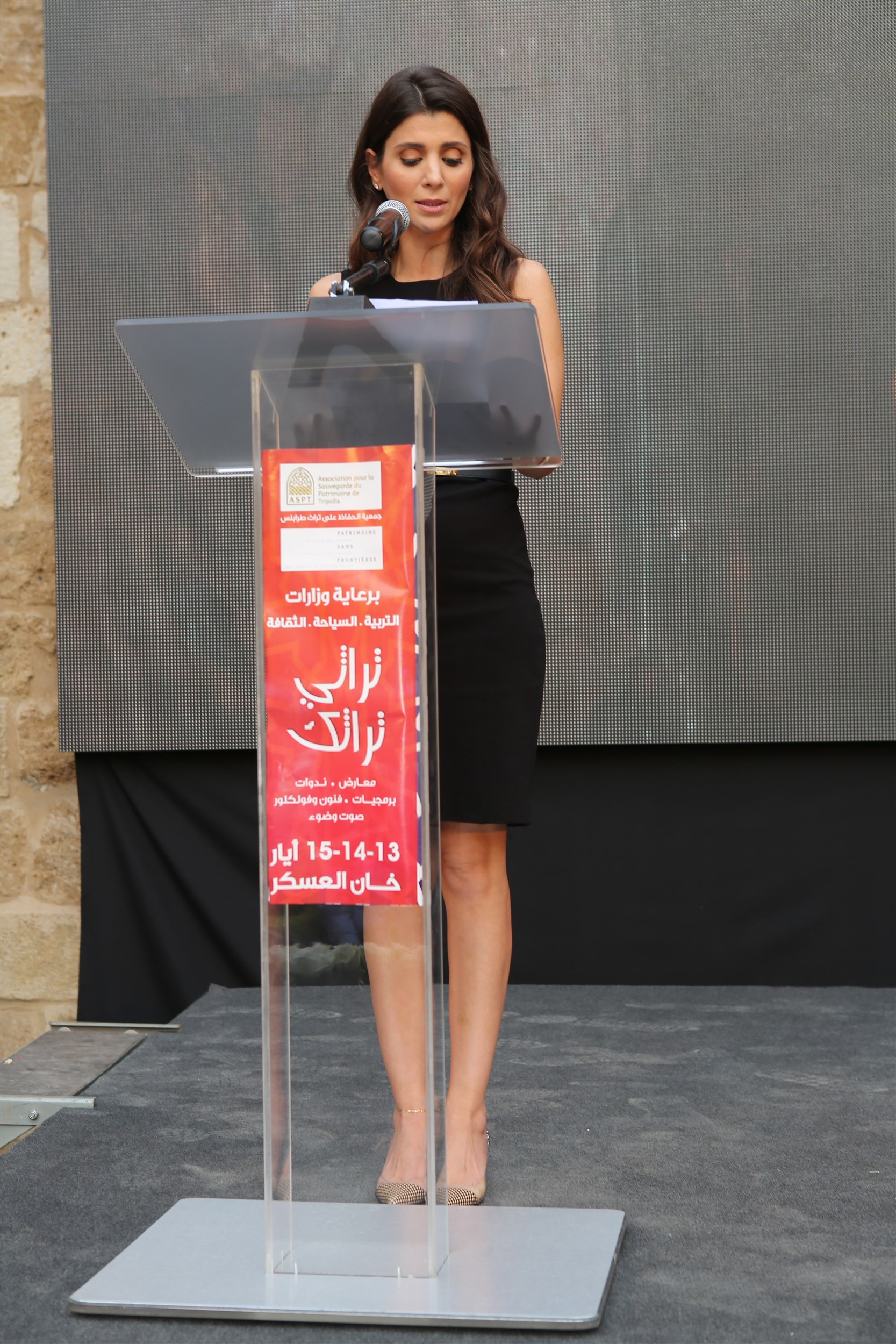iaaf president mrs. inas al jarmakani delivering her speech as a sponsor to the project believing in her true values of culture