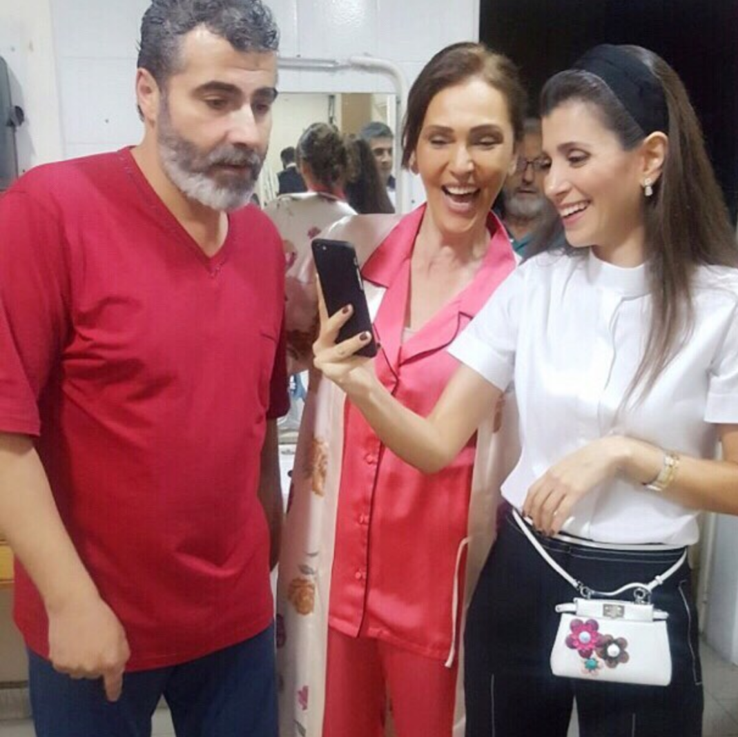 president of iaaf mrs. inas al jarmakani with mrs. roula hmede and mr. amar chalak at the play habibi mesh asmin