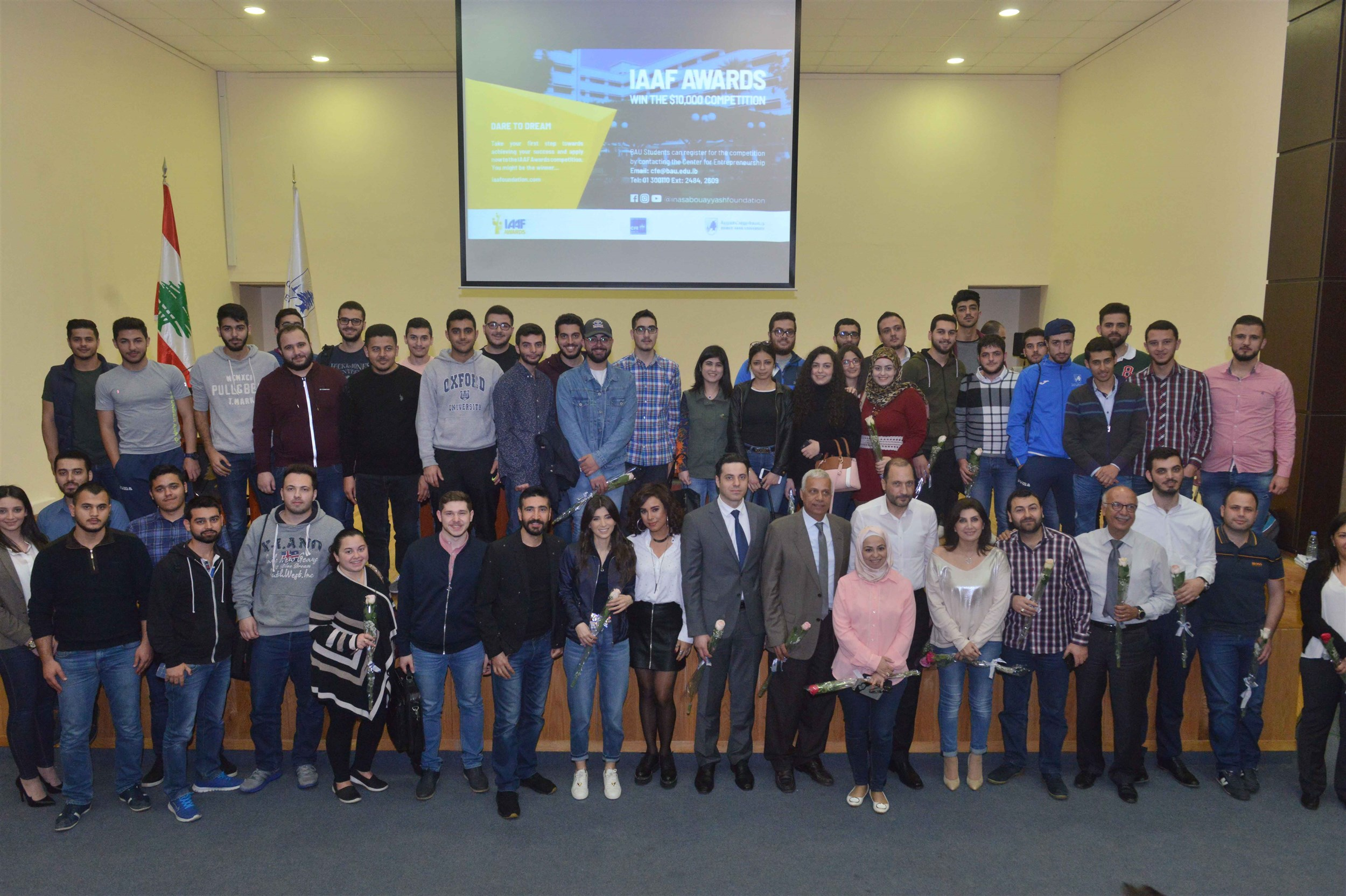 students of the beirut arab university and celebrity guests with founder of the iaaf mrs. inas al jarmakani.