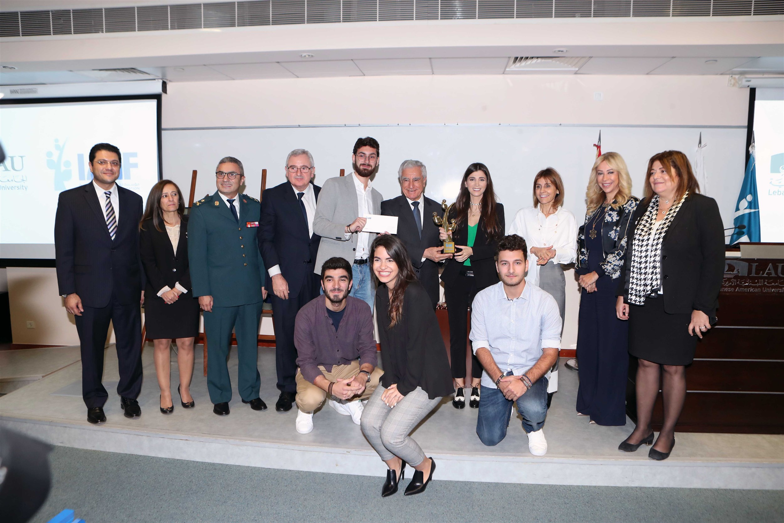 """the winners of the byblos campus iaaf awards with the jury and esteemed guests after receiving their monetary prize to fund their new application titled """"findmydoc"""" that enables patients to find physicians via the application and rate them."""