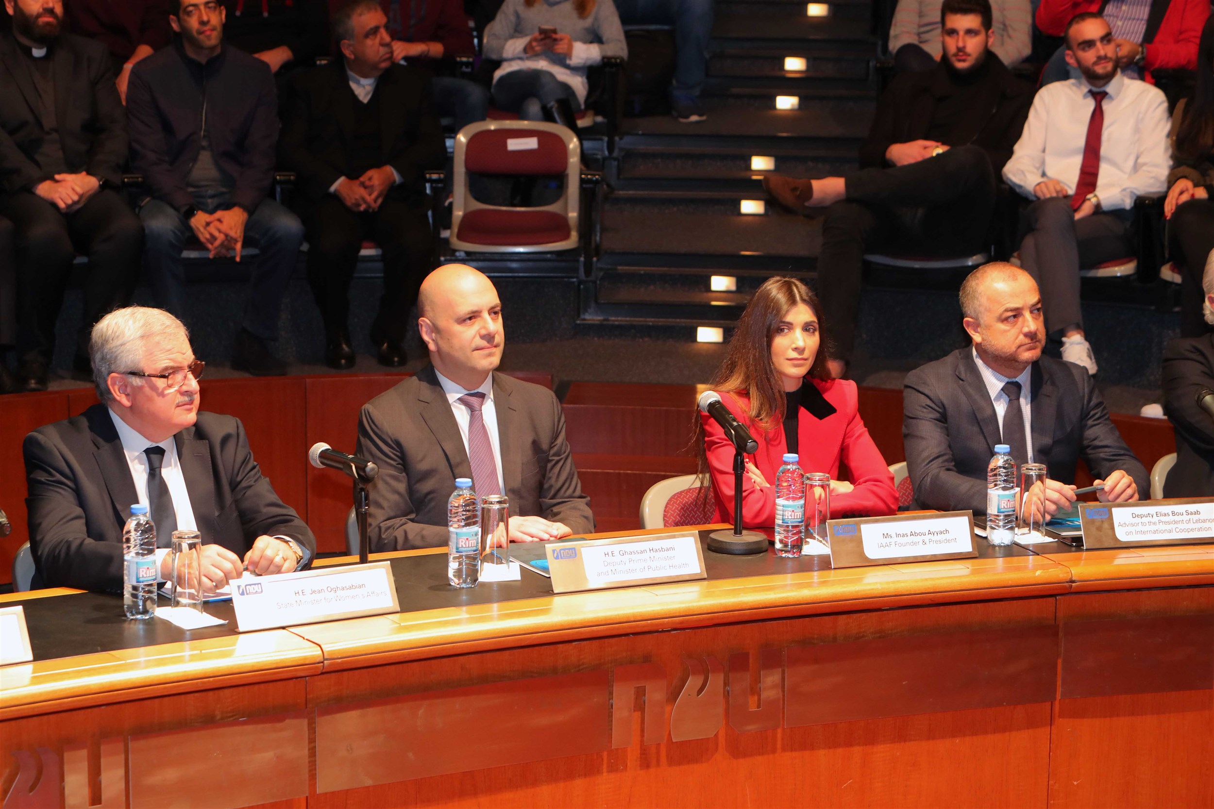 minister jean oghassapian, minister elias abou saad, minister ghassan hasbani and mrs. inas al jarmakani as members of the honourable jury.