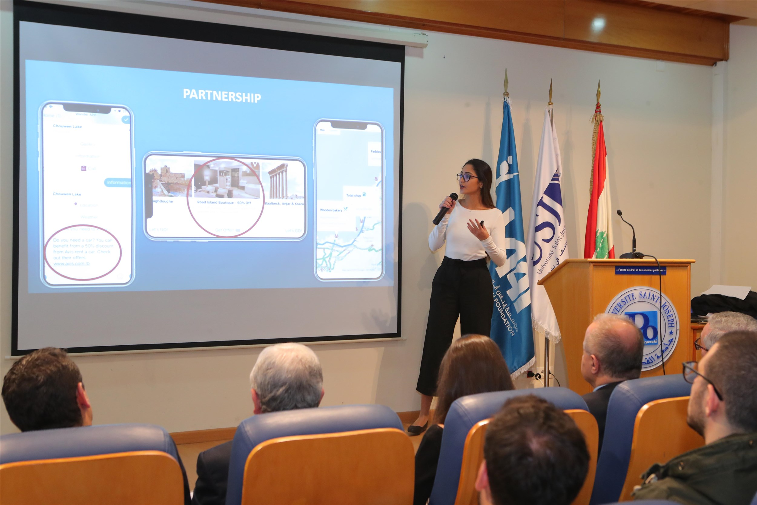 the winning  student  pamela kanaan pitching  her  idea  for  the  jury.
