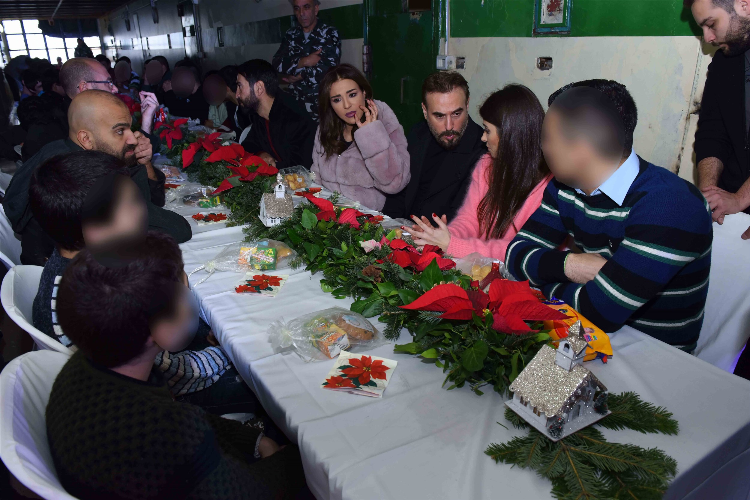 the celebrities sharing a christmas lunch.
